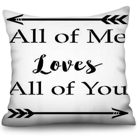 3D Digital Printing Polyester Love Square Pillowcase - BLACK