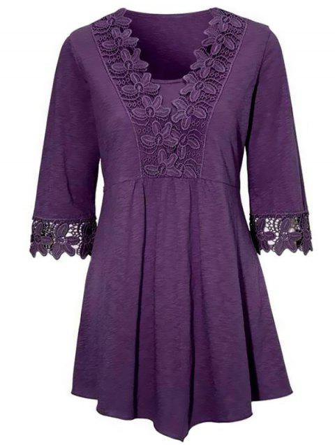 Women's Lace Stitching Irregular T-shirt - PURPLE XL