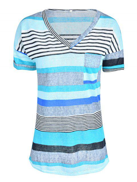 Women Stylish Pocket Striped Short Sleeved Tee - BLUE 3XL