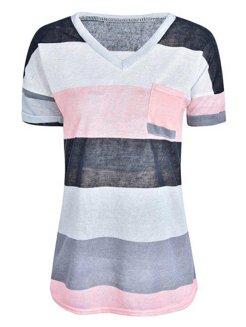 Women Stylish Pocket Striped Short Sleeved Tee - GRAY 3XL