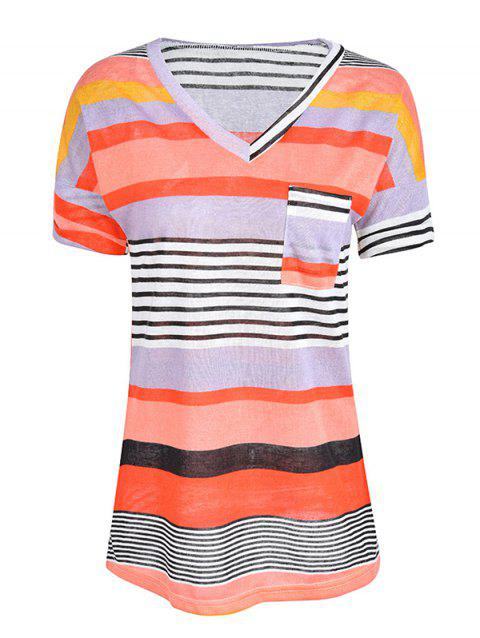 Women Stylish Pocket Striped Short Sleeved Tee - RED L