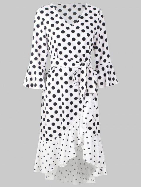 X007 Women Dotted Stitching Ruffle V-Neck Dress - WHITE L
