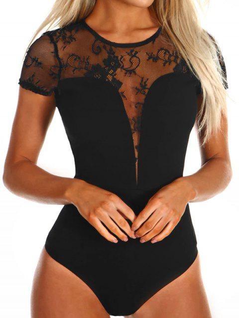 Black Lace Short Sleeve Lingerie - BLACK S