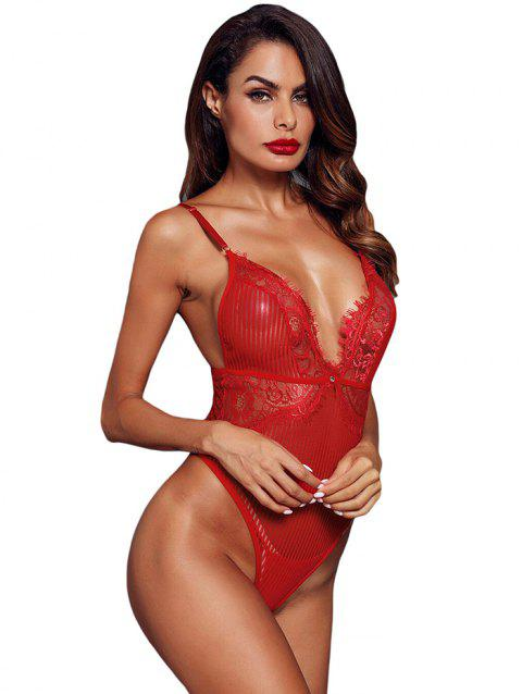 Fashion Triangular Lace Bodysuit - LAVA RED S