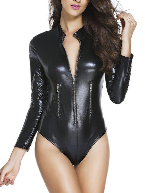 3259 Black Leather Long Sleeve Zip Detail Bodysuit - BLACK L