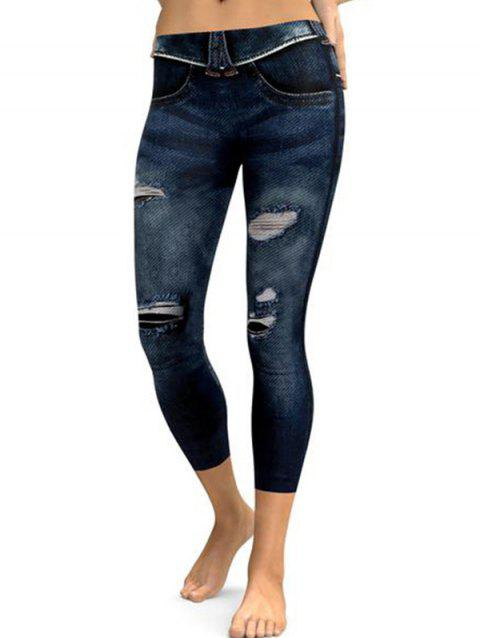 FC446 Simulation 3D Printing Hole Denim Stretch Leggings - DENIM DARK BLUE S