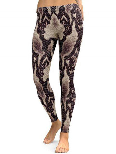 FC448 3D Simulation Print Snakeskin Stretch Leggings - CLOUDY GRAY L