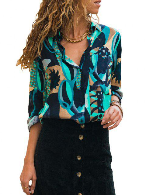 X0070 Pocket Geometric Print Fashion Blouse - LIGHT CYAN 2XL