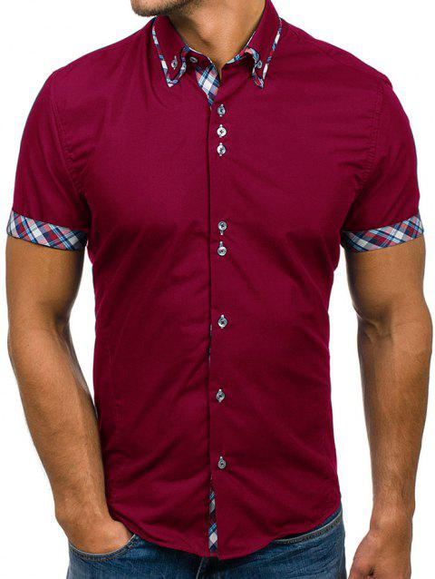 Double-neck Plaid Color Men's Casual Slim Short-sleeved Shirt - RED WINE 3XL