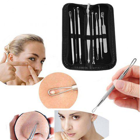 Stainless Steel Acne Needle Non-slip Handle Beauty Tool 8pcs / Set - SILVER