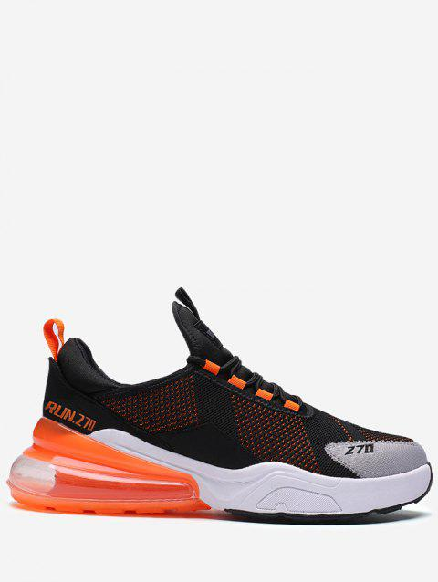 Color Block Knitted Running Sneakers - TIGER ORANGE EU 44