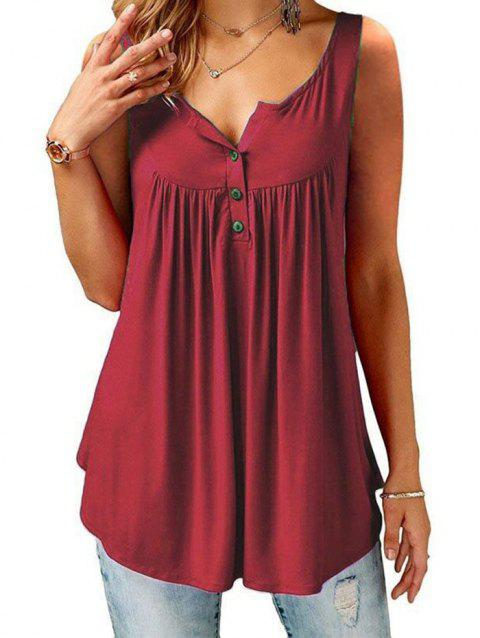 Solid Color Brace Tank Top Pleated Slip Camisole Sleeveless Casual Women's Vest - RED WINE S