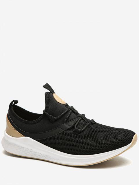 Lace Up Mesh Panel Sneakers - BLACK EU 43