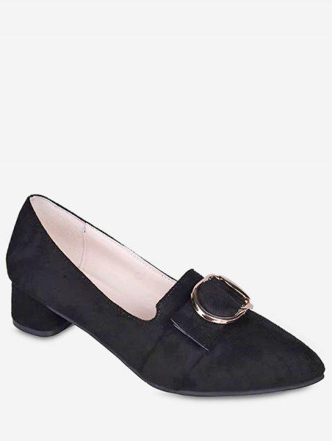 Buckle Pointed Toe Chunky Heel Shoes - BLACK EU 37