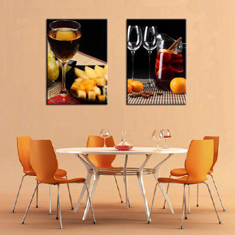Two Paintings Fine Wine Food 2pcs - multicolor 40X60X2