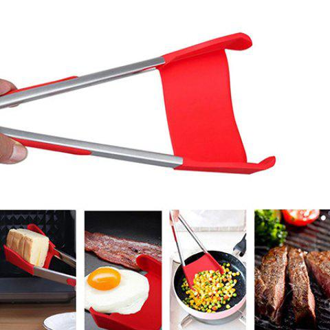 Intelligent Multi-functional Kitchen 2-in-1 Spatula Tongs Non Stick Heat Resistance Food Folder - VALENTINE RED 9 INCHES