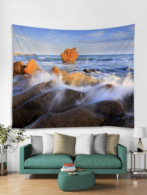 Seaside Rock Print Tapestry Wall Hanging Art Decoration - multicolor W91 X L71 INCH