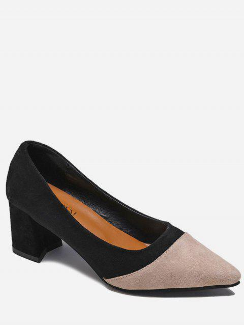 Two Tone Pointed Toe Suede Pumps - BLACK EU 36