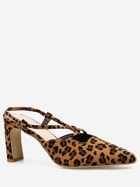 Leopard Cut Out Pointed Toe Pumps - LEOPARD EU 40