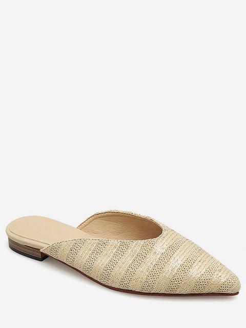 40dd10ac2 41% OFF] 2019 Pointed Toe Braided Stripe Flats In APRICOT | DressLily
