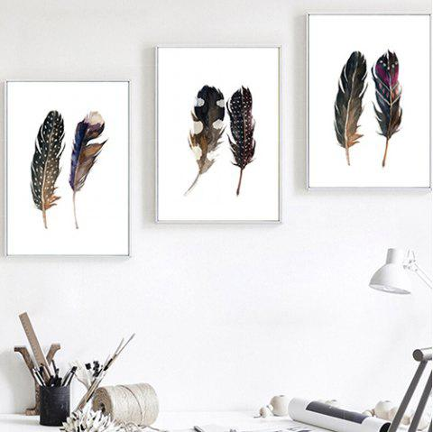 Feather Decorative Painting for Home Decoration 3pcs - multicolor A