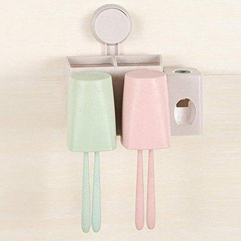 Wheat Toothbrush Holder Mouthwash Cup Bathroom Wash Set - multicolor