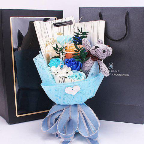 Valentine's Day Floral Soap Flower Bouquet Gift Box - SKY BLUE