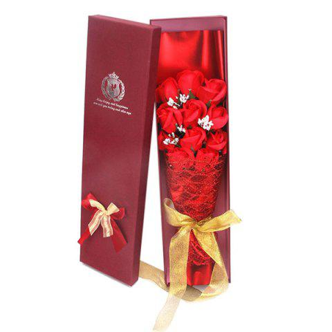 Valentine's Day 11 Rose Soap Bouquet Gift Box - RED