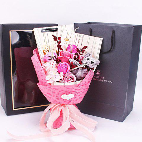 Valentine's Day Floral Soap Flower Bouquet Gift Box - PINK