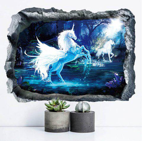 3D Unicorn Stereo PVC Wall Sticker - multicolor A