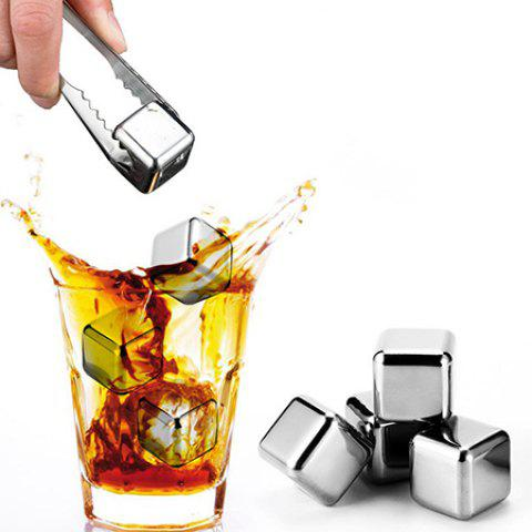 Creative Metal Ice Cube 4pcs - SILVER