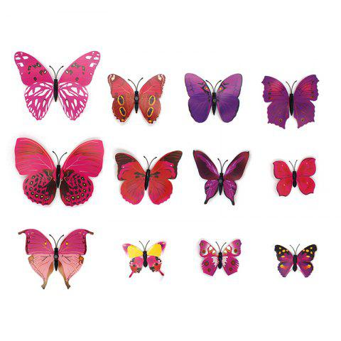 3D Magnet Butterfly Decoration Wall Sticker 12pcs - BLUSH RED