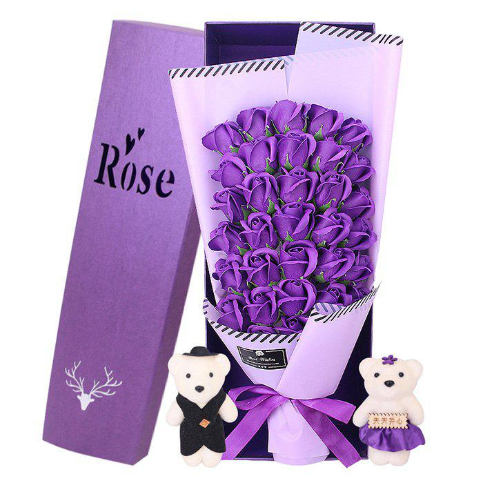 33 Rose Soap Bouquet Gift Box for Valentine's Day - PURPLE