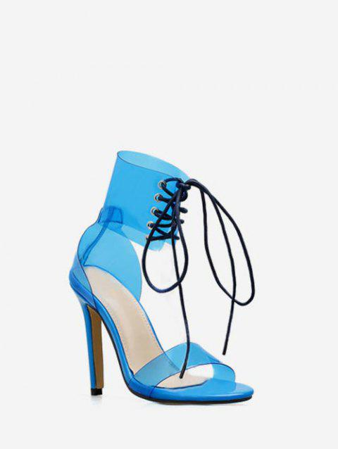 Lace Up Clear Strap Heeled Sandals - BLUEBERRY BLUE EU 40