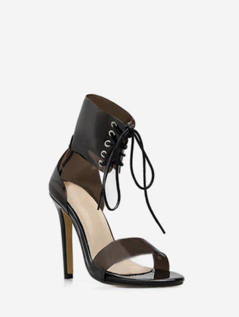 Lace Up Clear Strap Heeled Sandals - BLACK EU 37