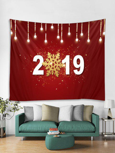 2019 Snowflake Print Tapestry Wall Hanging Art Decoration - RED WINE W59 X L59 INCH