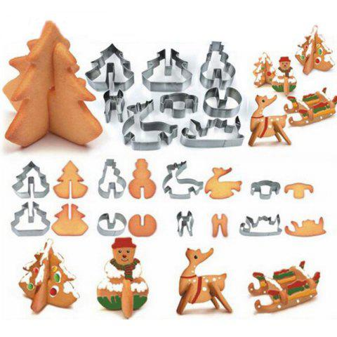Hoard 8PCS 3D Christmas Scenario Cookie Cutter Mold Set Stainless Steel Fondant Cake Mould - SILVER