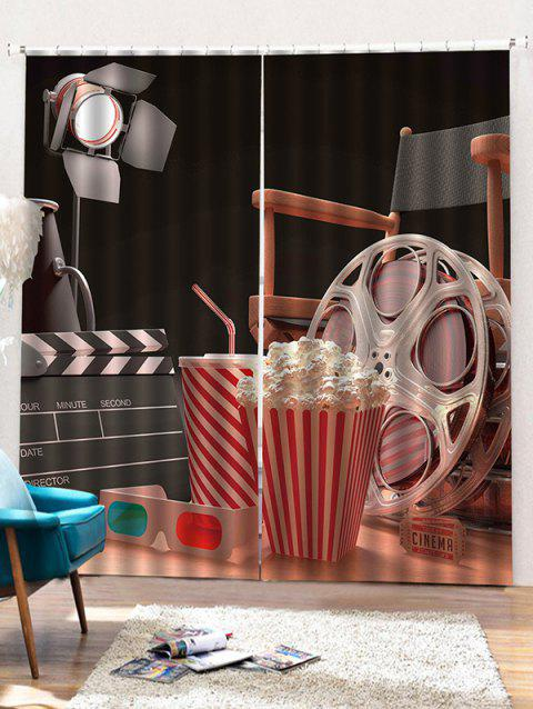 2PCS 3D Popcorn Pattern Window Curtains - multicolor W30 X L65 INCH X 2PCS