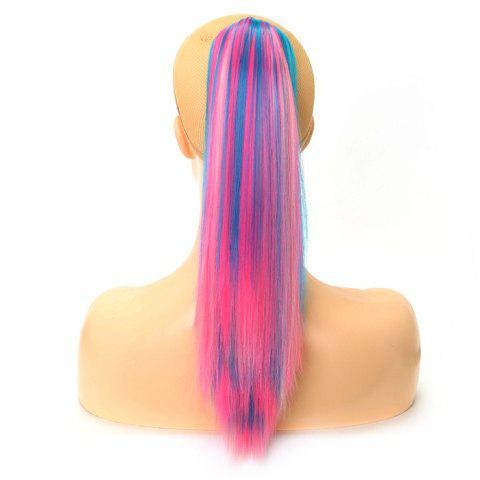 Medium Long Straight Hair Pony Tail Wig - multicolor A