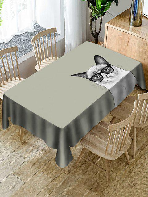 Cat In Glasses Print Fabric Waterproof Tablecloth - ARMY BROWN W54 X L72 INCH