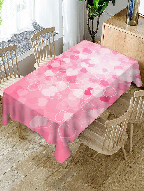 Valentines Day Hearts Print Waterproof Tablecloth - PINK W60 X L120 INCH