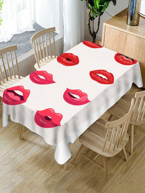 Red Lip Print Fabric Waterproof Tablecloth - RED W60 X L102 INCH