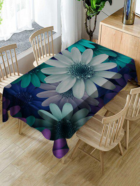 Colorful Flowers Print Fabric Waterproof Tablecloth - multicolor W60 X L84 INCH