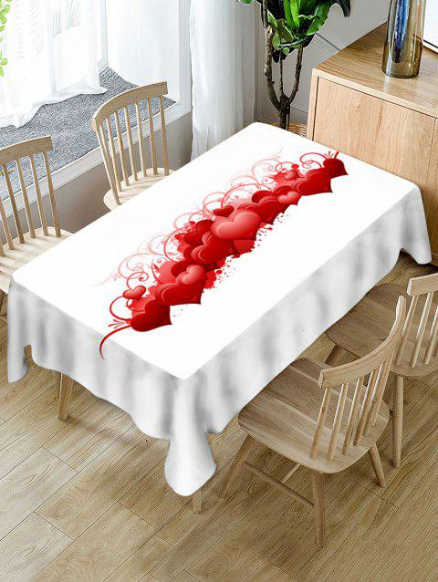 Valentines Day Hearts Print Fabric Waterproof Tablecloth - WHITE W60 X L102 INCH