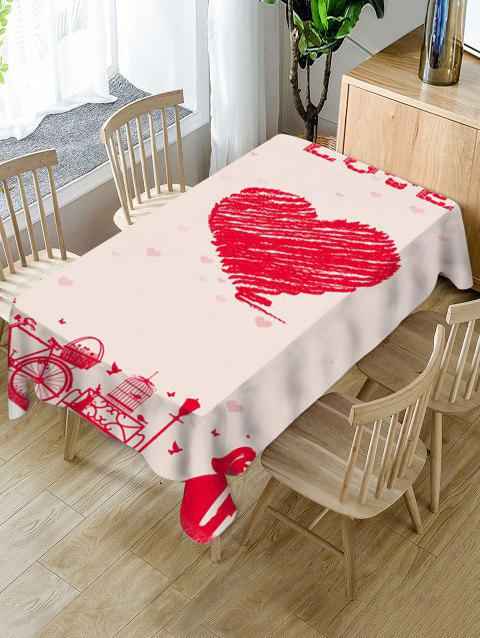 Valentines Day Love Heart Print Fabric Waterproof Tablecloth - RED W60 X L102 INCH