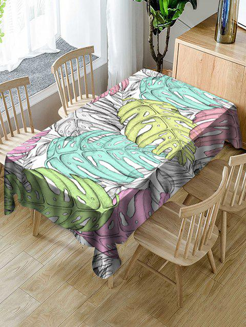 Colorful Palm Leaf Print Fabric Waterproof Tablecloth - multicolor W54 X L72 INCH