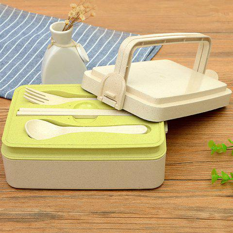 Environmentally Friendly Wheat Straw Microwave Oven Multi-layer Portable Tableware Lunch Box - multicolor