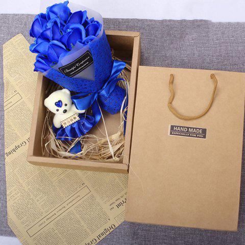 Valentine Day Gift 11 Soap Bouquet Roses with Box - BLUE