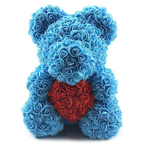 Valentines Birthday Gift Rose Color Matching Flower Bear 40cm - DEEP SKY BLUE