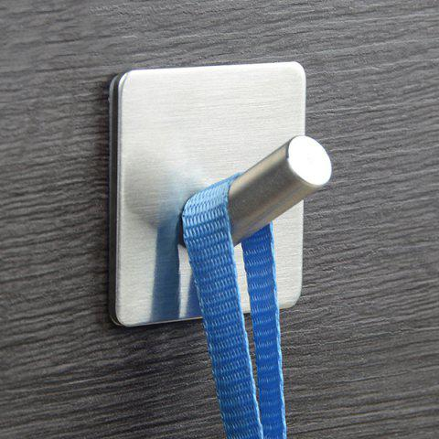 Hook Single Oblique Hook Stainless Steel Free Punching Strong Load-bearing Kitchen Bathroom Coat Hook - SILVER